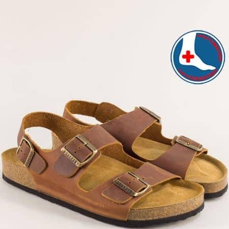Кафяви мъжки сандали от естествена кожа с три катарами- PLAKTON 175113k
