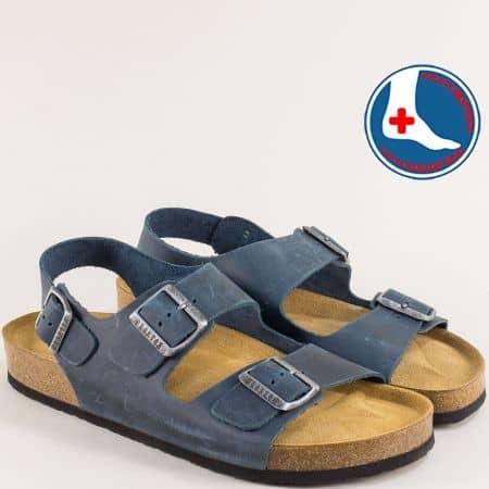 Сини мъжки сандали от естествена кожа с три катарами- PLAKTON 175113s