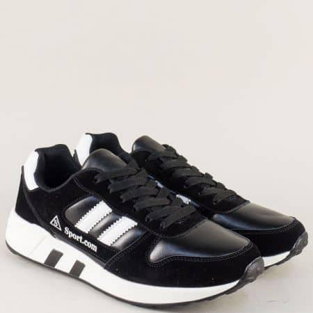 Спортни мъжки обувки с връзки в черно и бяло 1758-45ch
