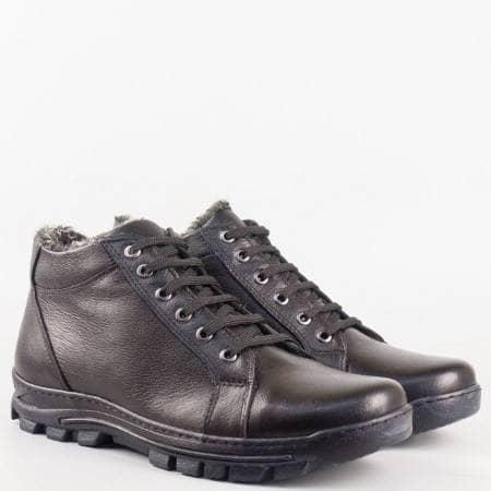 Мъжки комфортни боти изработени от висококачествена естествена кожа в черен цвят 175ch
