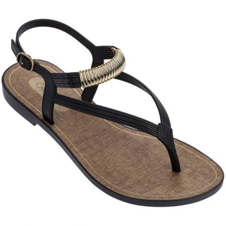 Черни дамски сандали с лента между пръста- GRENDHA 1762590058