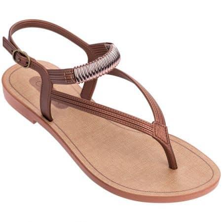 Бронзови дамски сандали с лента между пръста- GRENDHA 1762590268