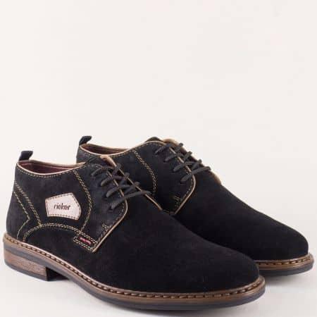 Мъжки обувки с връзки от черен естествен велур- Rieker 17630vch