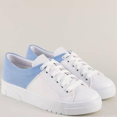 Дамски кецове в бяло и синьо на равно ходило 1765bs