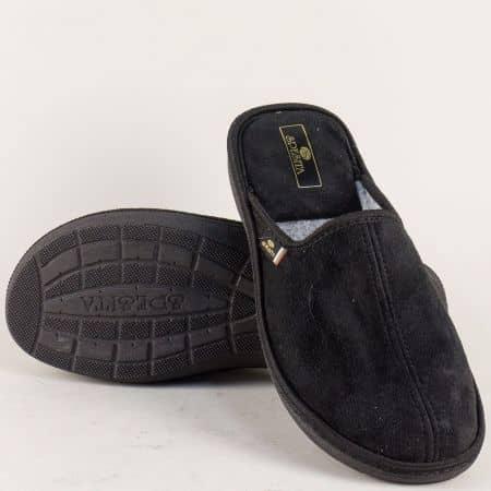 Домашни мъжки чехли Spesita на равно ходило в черен цвят 17783ch