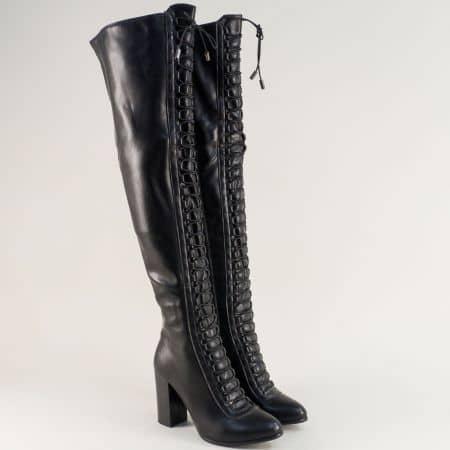 Черни дамски ботуши, тип чизми с ластични връзки 1791403ch
