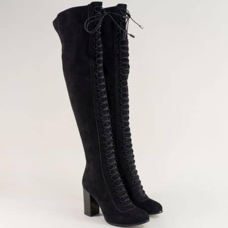 Дамски ботуши, тип чизми на висок ток в черен цвят 1791403vch
