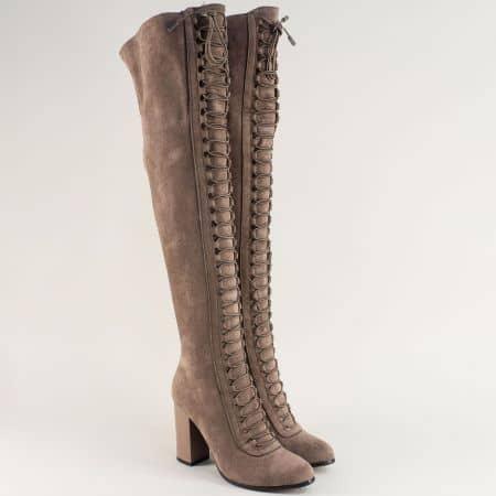 Кафяви дамски чизми на висок ток Eliza с връзки 1791403vk