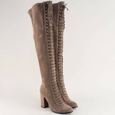 Кафяви дамски ботуши над коляното на висок ток 1791403vk