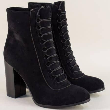 Черни дамски боти с цип и ластични връзки на висок ток 1791406vch