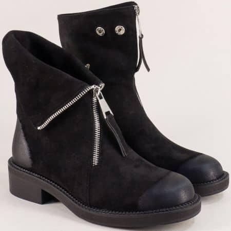 Дамски боти в черен цвят на нисък ток с цип- ELIZA 1793130vch