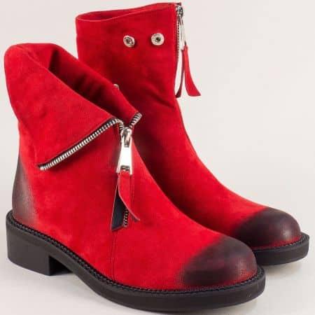Червени дамски боти с цип на нисък ток- ELIZA 1793130vchv