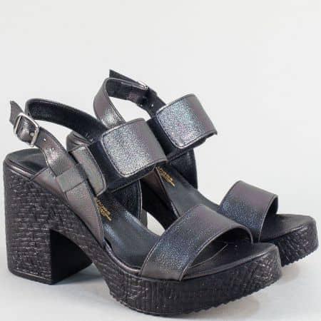 Бронзови дамски сандали на висок ток и платформа 1800655sbrz