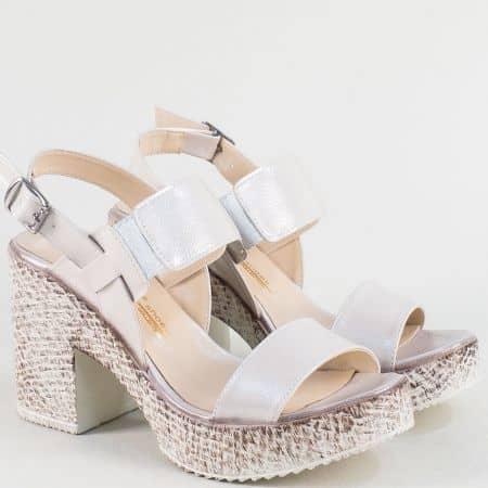 Розови дамски сандали от сатен и естествена кожа 1800655srz