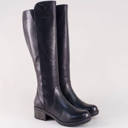 Черни дамски ботуши с грайфер от естествена кожа 1800ch