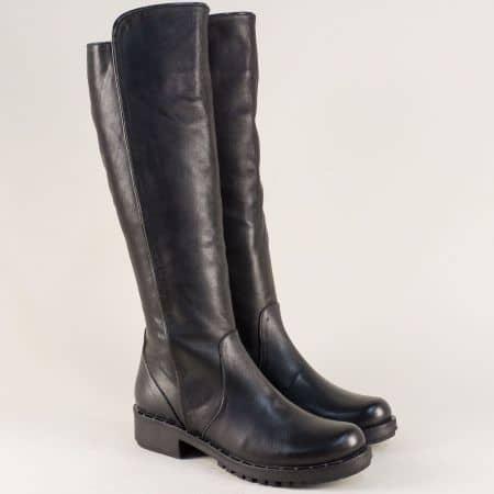 Черни дамски ботуши от естествена кожа на нисък ток 1800ch1