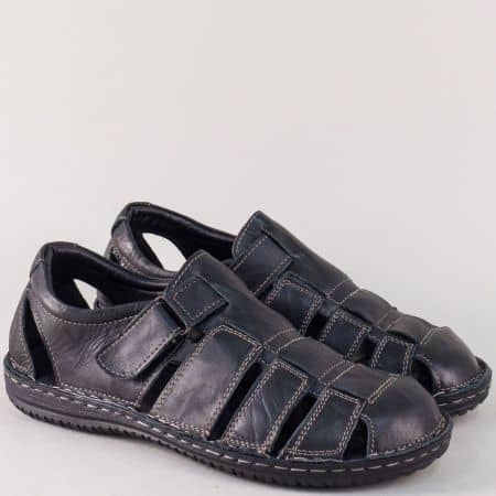 Шити мъжки сандали с лепка от черна естествена кожа 1805ch