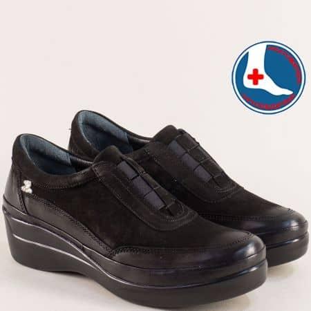 Ортопедични обувки на клин ходило в черен цвят 1807008nch