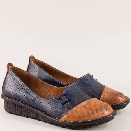 Дамски обувки в синьо и кафяво с ластик и перфорация 18101sk