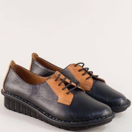 Кожени дамски обувки в кафяво и черно на шито ходило 18106chk