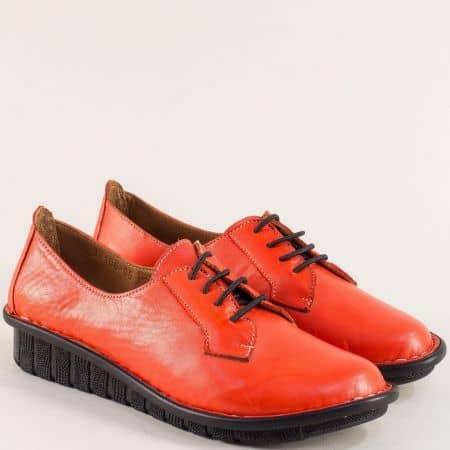 Червени дамски обувки с връзки и кожена стелка 18106chv