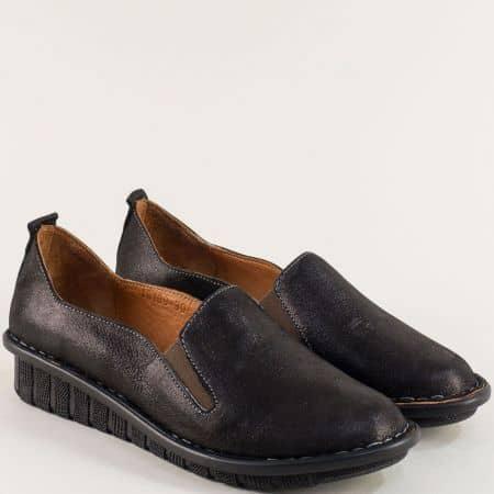 Черни дамски обувки на шито ходило с кожена стелка 18109sch