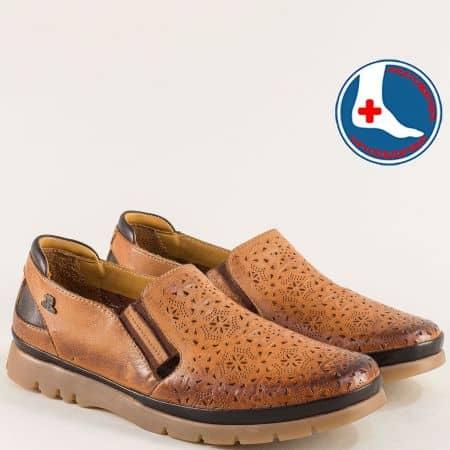 Кожени дамски обувки на анатомично ходило в кафяво 1813602k