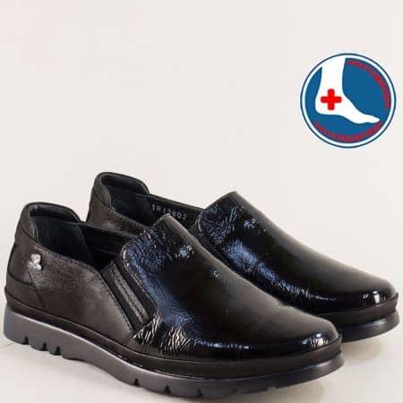 Ортопедични дамски обувки от естествен черен лак 1813602lch