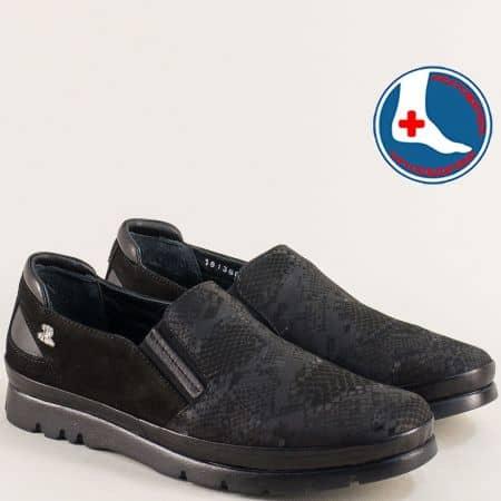 Анатомични дамски обувки от естествен набук в черно 1813602zch