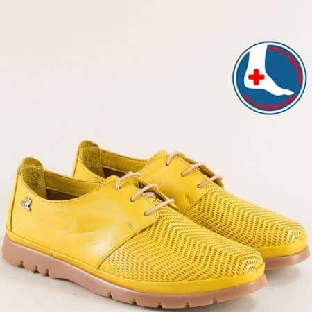 Жълти дамски обувки от естествена кожа и каучук 1813605j1