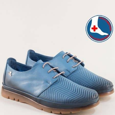 Анатомични дамски обувки от естествена кожа в синьо 1813605s