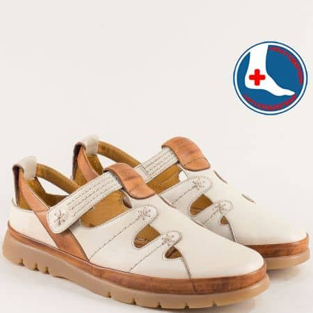 Ортопедични дамски обувки с лепка в кафяво и бежово  1813606bjk