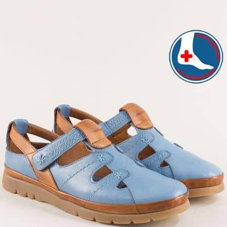 Ортопедични дамски обувки от естествена кожа в син цвят 1813606sk