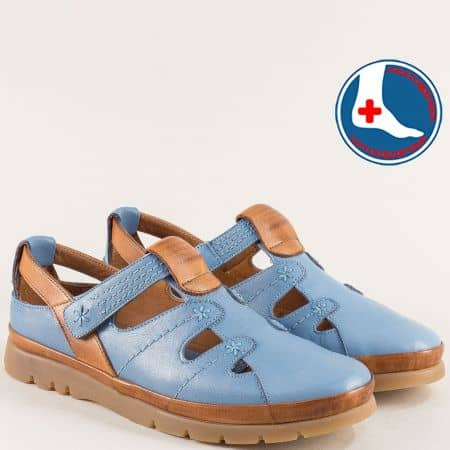 Анатомични дамски обувки в синьо и кафяво с лепка 1813606sk