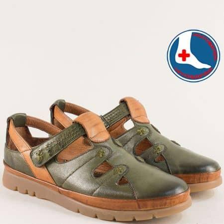 Кожени дамски обувки в зелено и кафяво с лепка 1813606zk