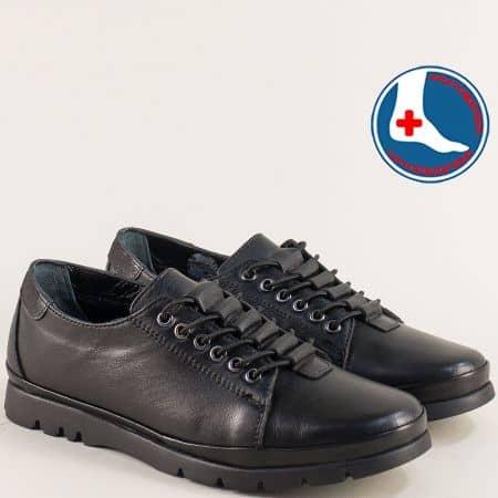 Черни дамски обувки с кожена ортопедична стелка 1813622ch