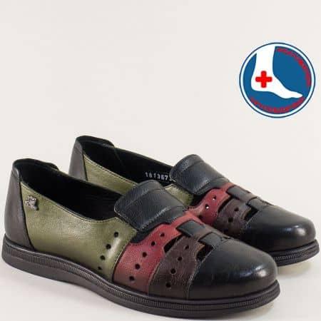 Кожени дамски обувки в черно, червено, кафяво и зелено 1813672chps