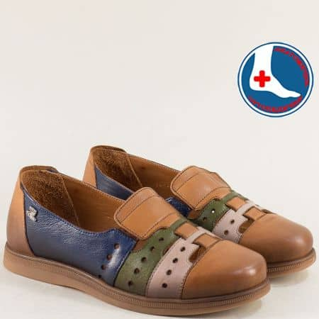 Равни дамски обувки в кафяво, синьо, зелено и бежово 1813672kps