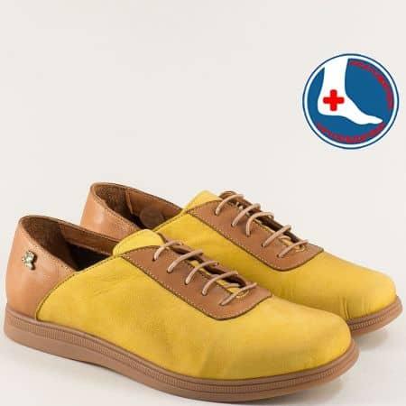 Дамски обувки в жълто и кафяво от естествена кожа и каучук 1813673j
