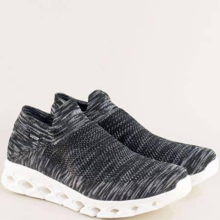Спортни мъжки обувки в черен цвят на бяло ходило 1817-45ch