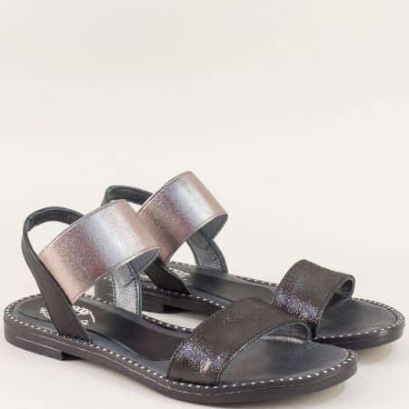 Кожени дамски сандали в черен цвят на равно ходило 1819ch