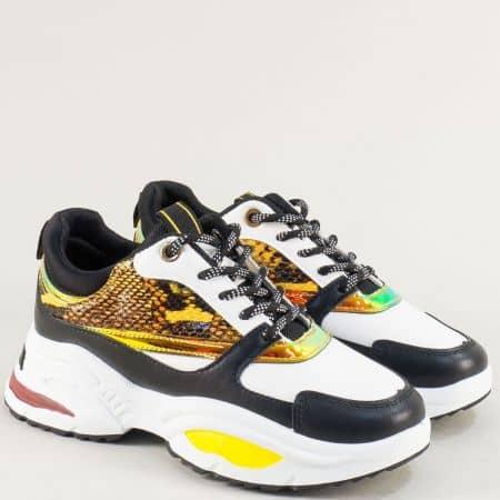 Дамски маратонки на платфорама в бяло, жълто и черно 182-40bps