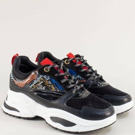 Дамски маратонки в кафяво, синьо, червено и черно 182-40chps