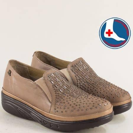 Бежови дамски обувки от естествен набук и кожа 1820504bj