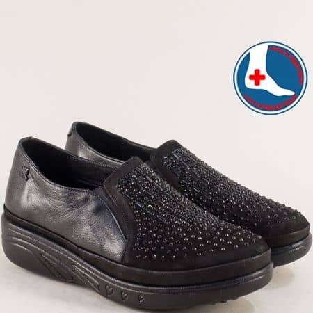 Черни дамски обувки с два ластика на платформа 1820504ch