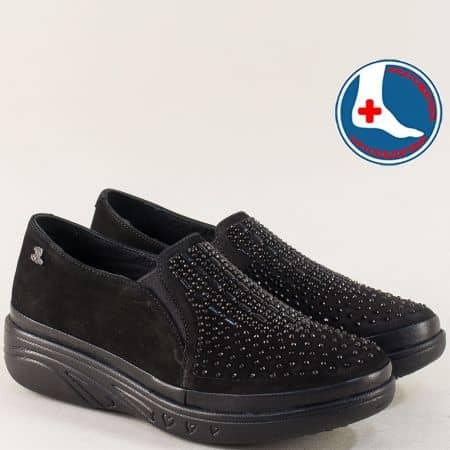 Ортопедични дамски обувки от естествена кожа в черен цвят  1820504nch