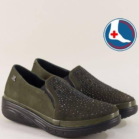 Ортопедични дамски обувки на платформа в зелен цвят 1820504nz