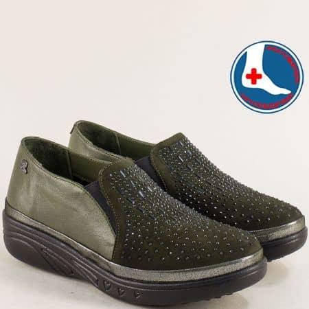 Зелени дамски обувки от естествена кожа отвън и отвътре на ортопедично ходило 1820504z