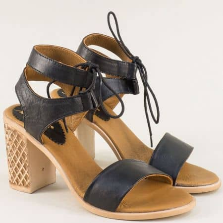 Черни дамски сандали с връзки и висок ток от естествена кожа- NOTA BENE 182101082ch