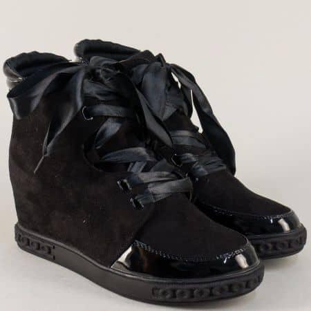 Черни дамски обувки на скрита платформа с връзки и цип 18301vch
